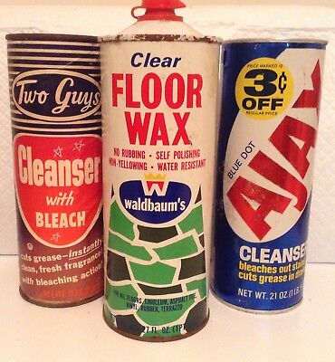 """Vintage Ajax canister , Two Guys"""" cleanser ,Waldbaums floor wax tin  collectible"""