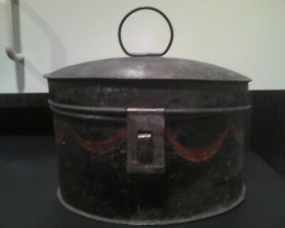 Antique Painted Tin Toleware Epulet Box w/Domed Lid early 19th centuryAmerican