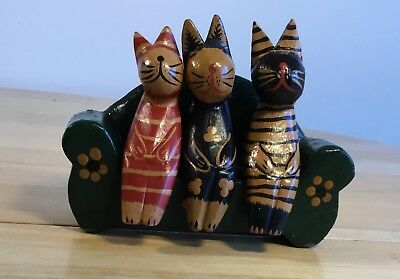 3 Wood Wooden Cats Figurines Sitting on Couch / Sofa Adorable Free Shipping