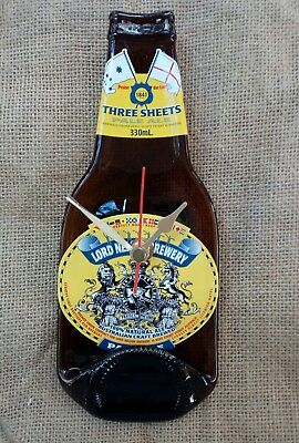 Beer Bottle Wall Clock Lord Nelson Three Sheets Man Cave Handmade Unique Gift