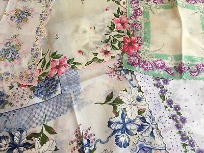 Lovely Hankie Lot - Collection 12 Vintage Floral Handkerchiefs - 4 W Labels