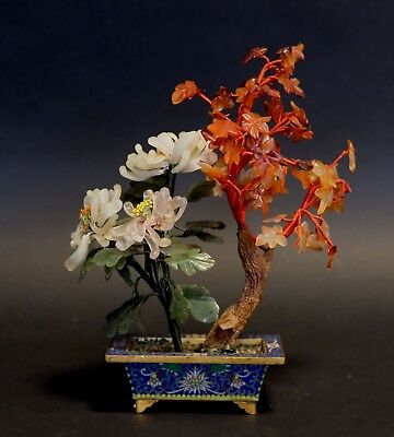 A Chinese  Bronze Cloisonne Enamel and Hard Stone Flower