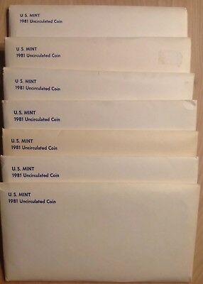 🔥🔥🔥- 7 Sealed Sets Lot - 1981 Us Mint Uncirculated Coin Sealed Sets - 3 Sba's