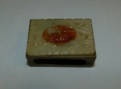Antique Chinese brass matchbox case holder jade carved with Medallion