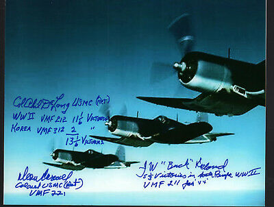 ONE of A KIND COLOR F4U CORSAIR FIGHTER PHOTO SIGNED by 3 GREAT FIGHTER ACES!