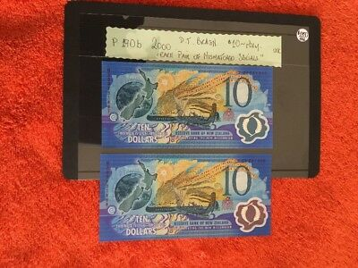 New Zealand $10 Mismatched Serials Pair Year 2000 ,