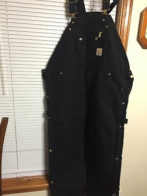 Carhartt Bib Overall Black Canvas, Red Quilted Insulated Lining NWT 44x30