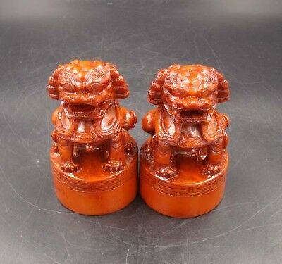 A pair Collectible Handmade Carving Statue Lion Jade Seal Shoushan Stone