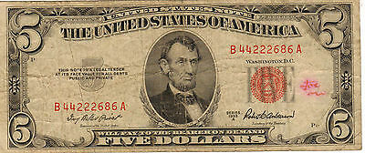 1953-A US Note, Red Seal, Medium to High  Grade (K-88)