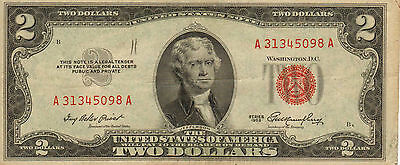 1953 $2 United States Note, Red Seal, Circulated Medium to High Grade (Z-203)