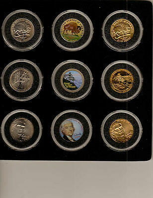 18 Coin Jefferson Nickel Set, Gold Pl, Colorized 2003-8 (3143)