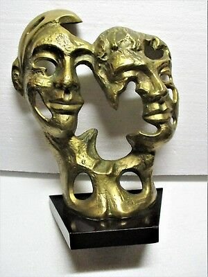 Ca. 1960's Art Brute Solid Brass Distorted Faces Sculpture Mid Century Modern