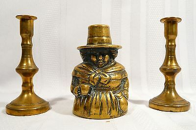 Antique Brass Dinner Bell WELSH LADY 2 Miniature CANDLESTICKS Holders