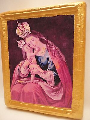 Madonna and Child Virgin Mary Roman Catholic Religious Icon Art on Real Wood