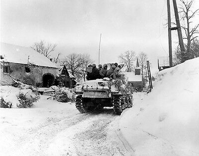 "US Soldiers on tank Battle of the Bulge 8""x 10"" World War II WW2 Photo 456"