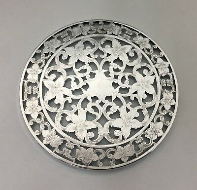 """Webster Glass & Sterling Silver Overlay Round Coaster Trivet Tray 6"""" Diameter"""