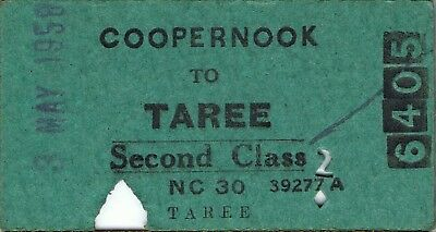 Railway tickets a trip from Coopernook to Taree by the old NSWGR in 1958