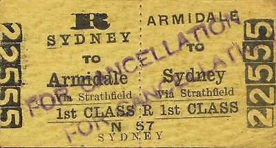 Railway tickets a trip from Armidale to Sydney by the old NSWGR in 1958