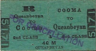 Railway tickets a trip from Cooma to Queanbeyan by the old NSWGR in 1957