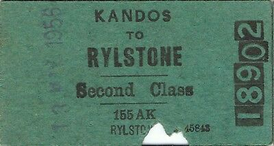 Railway tickets a trip from Kandos to Rylstone by the old NSWGR in 1956