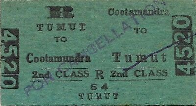 Railway tickets a trip from Cootamundra to Tumut by the old NSWGR in 1956