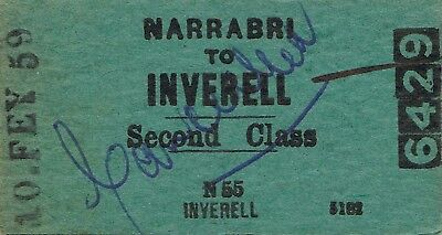 Railway tickets a trip from Narrabri to Inverell by the old NSWGR in 1959