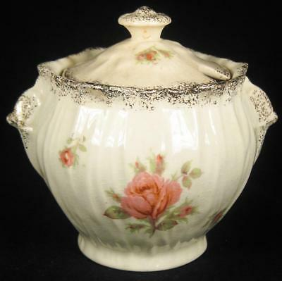 Crown Ducal Pink Roses & Speckled Gold Sugar Bowl with Lid
