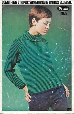 Vintage Patons 805 Knitting Book, Something Striped In Bluebell