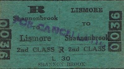 Railway tickets a trip from Lismore to Shannonbrook by the old NSWGR