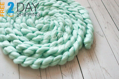 Newborn Photography Basket Braid Wool Wrap Baby Photo Props Merino Wool...