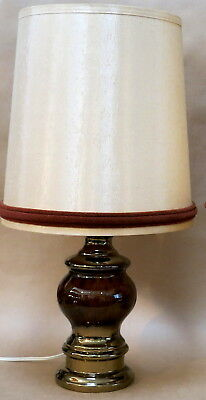 BEAUTIFUL VINTAGE RETRO GLAMOUR CERAMIC TABLE LAMP WITH SHADE 1970s