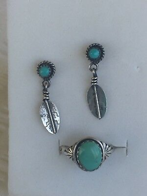Sterling Silver NAVAJO Ring szQ1/2 & Earrings w TURQUOISE..1960's...