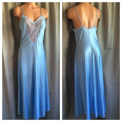 VTG by Contemporary Shiny Romantic Blue Long Nylon Nightgown Floral Mesh Lace M