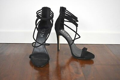 Betts 'Adore' Black Strappy High Heels Size 8