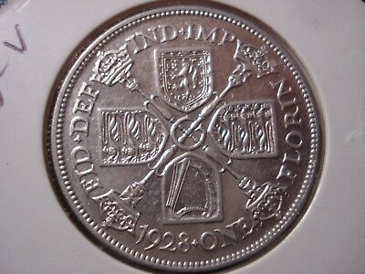 Great Britain UK 1928 Florin Silver Coin George V #BB4