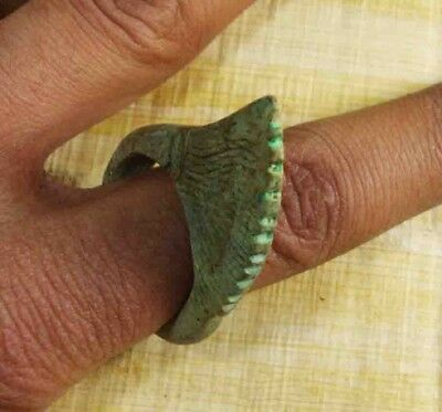 Egyptian Rare Faience Pharaoh Lotus Seal Engraved Finger Ring Hieroglyphic #104