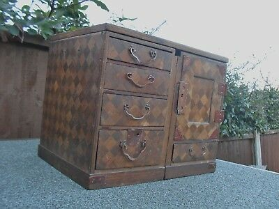 Antique Japanese Chinese Travelling Writing Desk Wooden Parquetry Mejii Period