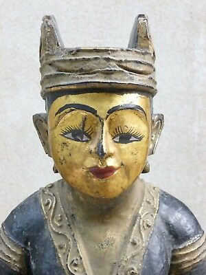 Rare Antique Gilded Burmese Female Nat Statue - early 20th century