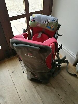 Littlelife Voyager S2 baby/toddler carrier w/accessories; red/grey; v good cond.