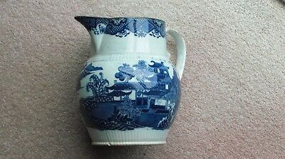 "7 X 7.5"" Dia Swansea Jug With Two Molded Bands Decorated In Frantic Fern Pattern"