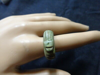 Egyptian Rare Faience Pharaoh Scarab Seal Engraved Finger Ring Hieroglyphic #118