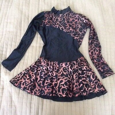 Ice Skating Dress Flame Foil Red Starlite Size 4 Womens 10-12UK & Skate Covers