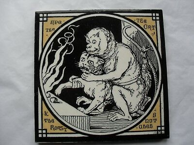 TILE by Minton China Works Aesop's Fables The Ape the Cat & the Roast Chesnuts
