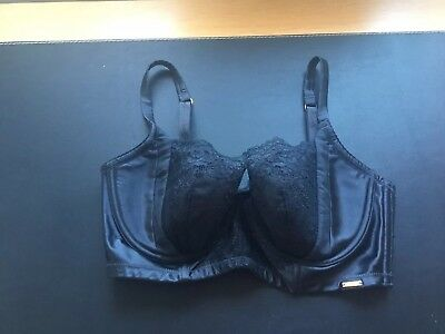 Black Satin And Lace Bra Size 34D By Rosie