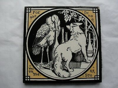TILE by Minton China Works Aesop's Fables The Fox Dines with the Stork