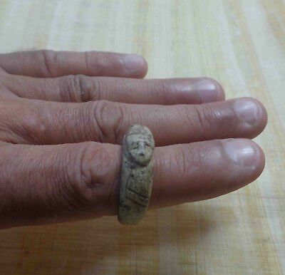 Egyptian Rare Faience Pharaoh Scarab Seal Engraved Finger Ring Hieroglyphic #131