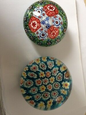 2x Glass Vintage Collectable  Paperweights Paper Weights Retro Design Old