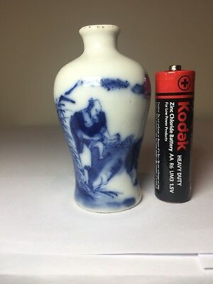 Antique Chinese Blue And White Mei Ping Vase