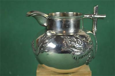 Antique Chinese Silver Milk Cream Jug Dragon Design By Yung Lei Shanghai  (F13)