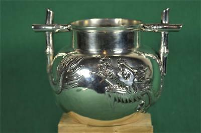Antique Chinese Silver Sugar Bowl Dragon Design By Yung Lei Shanghai  (F15)